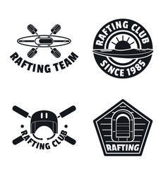 Rafting kayak canoe logo icons set simple style vector