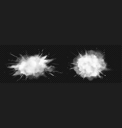 Realistic explosion white powder or snow vector