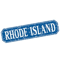 Rhode Island blue square grunge retro style sign vector