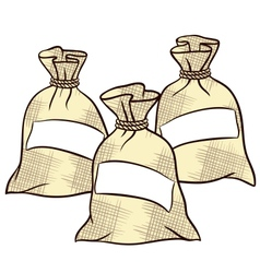 sacks of flour sugar and salt vector image vector image