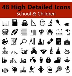 School and Children Smooth Icons vector image