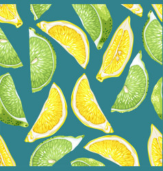 Seamless pattern with citrus slices of lemon and vector