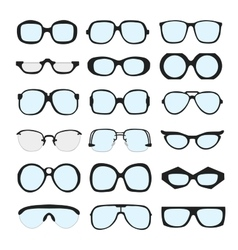 set different glasses with lenses on vector image