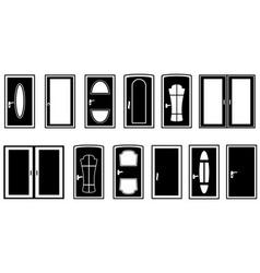 set doors black silhouette vector image