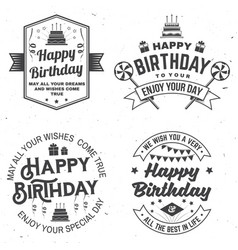 Set happy birthday templates for badge sticker vector