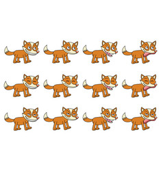 set of 12 cute cartoon foxes vector image