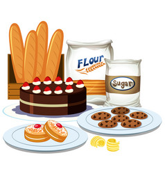 set of bakery element collection vector image