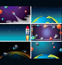 Set outer space scenes vector