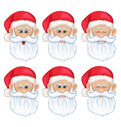 set santa claus face with different emotions vector image