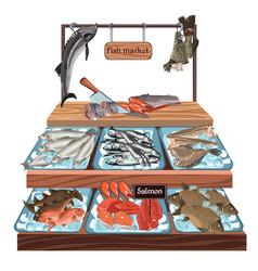 Sketch seafood market concept vector