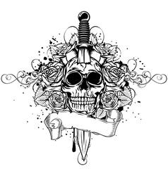 Skull dagger rose vector