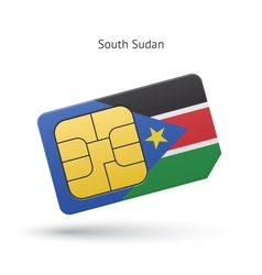 South Sudan mobile phone sim card with flag vector