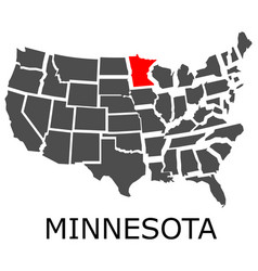 state minnesota on map usa vector image