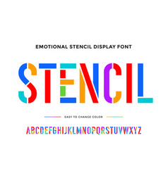 Stencil font colorful condensed alphabet and font vector