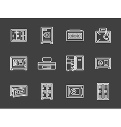 Storage lockers simple white line icons vector