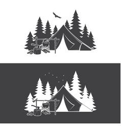 Summer camp day and night vector