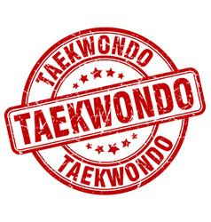 Taekwondo red grunge round vintage rubber stamp vector