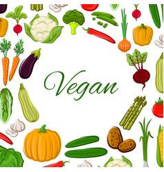 Vegan poster of vegetables and veggies vector