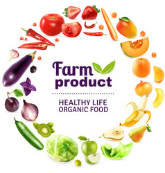 Vegetables And Fruits Rainbow Poster vector image