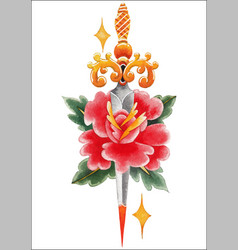 Watercolor flower pierced by the knife vector
