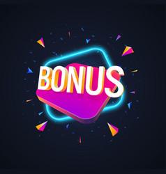 Web banner bonus sign letters 3d isolated vector