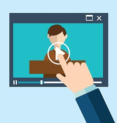 Webinar concept in flat style - video player vector