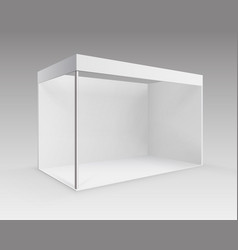 White indoor trade exhibition booth stand vector