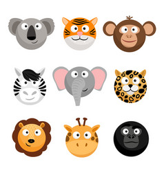 wild animal emoticons cartoon funny vector image