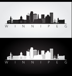 Winnipeg skyline and landmarks silhouette vector