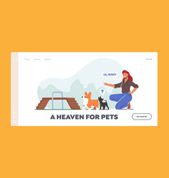 woman training dogs in park landing page template vector image
