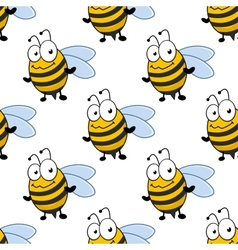 Cartoon smiling bee seamless pattern vector image vector image
