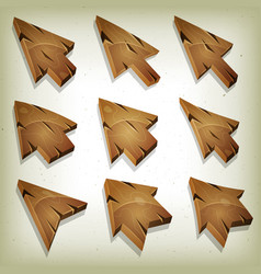 cartoon wood icons cursor and arrows vector image