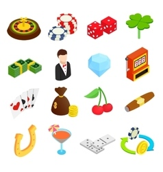 Casino isometric 3d icons vector image