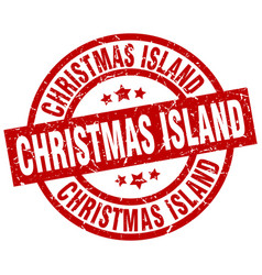 christmas island red round grunge stamp vector image vector image