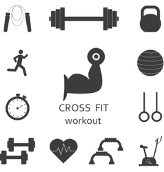 Set of workout icons Sport fitness gym vector image vector image