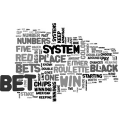 American roulette strategy text word cloud concept vector