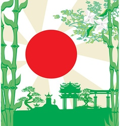 card with Asian buildings vector image