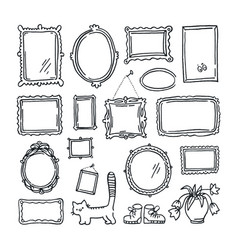 free hand drawing of picture frames vector image