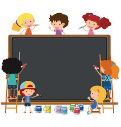 happy children writing on chalkboard vector image