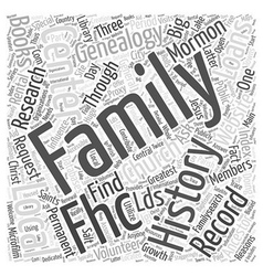 mormon genealogy record Word Cloud Concept vector image