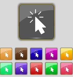 Cursor icon sign Set with eleven colored buttons vector image