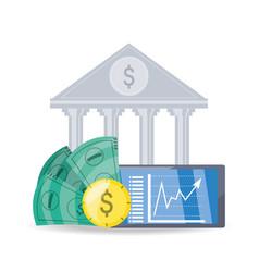 Financial bank concept bill and coins vector
