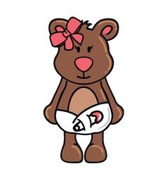 Girl bear wearing diapers vector image vector image