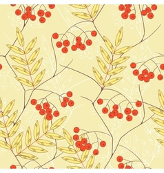 Seamless background with rowanberry and leaves vector image