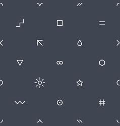 thin flat seamless pattern on dark gray vector image