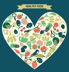 Background of Healthy Food icons set vector image