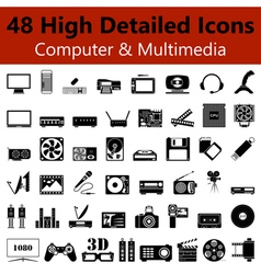 Computer and Multimedia Smooth Icons vector image