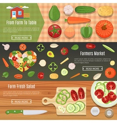 Fresh Vegetables Banners Set vector image vector image