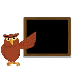 funny owl pointing a blackboard vector image vector image