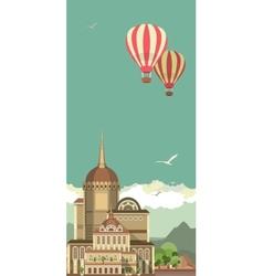 Hot air balloon in sky over the castle vector